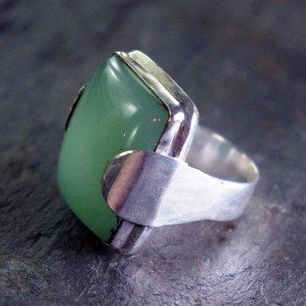 Chrysoprase, Green, Silver, Metal, Jewelry, Jewel