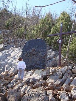 Stations Of The Cross, Cross, Kid, Cliff, Rocks, Child