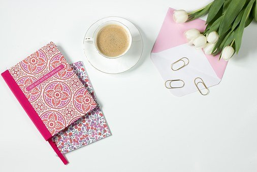 Coffee, Flowers, Notebook, Work Desk, Office