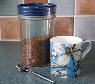 Coffee, Mug, Cup, Pretty, Blue, Jar, Storage Jar
