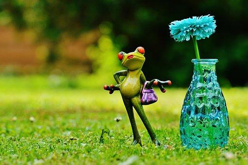 Vase, Flower, Frog, Funny, Cute, Sweet, Meadow, Figure