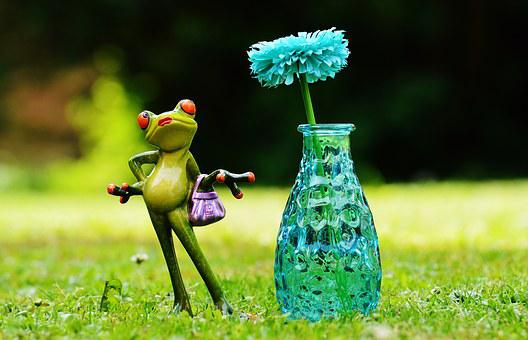 Vase, Flower, Frog, Funny, Cute, Sweet, Meadow, Fig