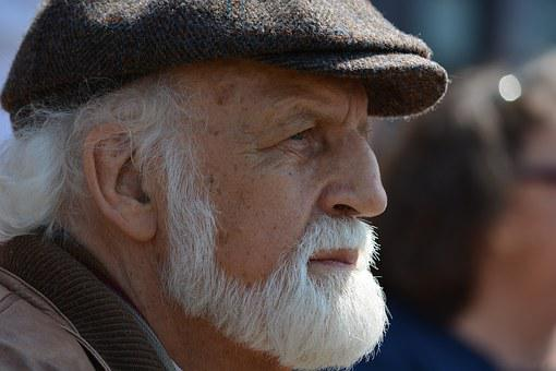 Man, Old, White Beard, Face, Portrait, Road, Hamburg