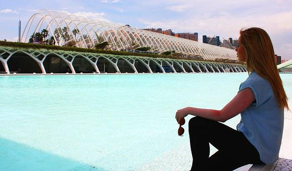 City Science, Valence, Girl, Woman, Calatrava