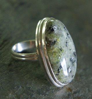 Prehnite, Green, Oval, Silver, Metal, Jewelry, Jewel