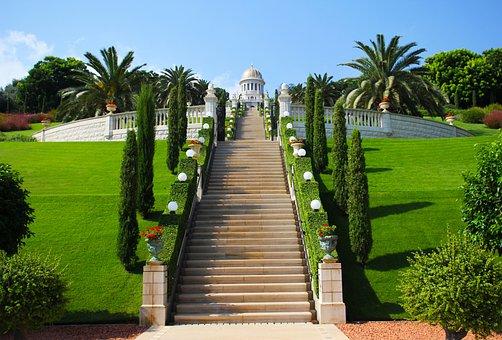 Haifa, Israel, Green, Temple, Religion, Bahai, Park