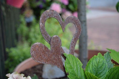Heart, Metal, Garden, Garden Decoration, Heart Shaped