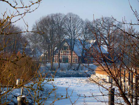 Lühe, Wintry, Ice, River, Nature, Snow, Cold, Iced