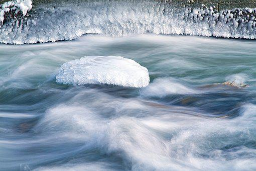 Ice On The Saale, Frozen River, Winter, Ice, Water