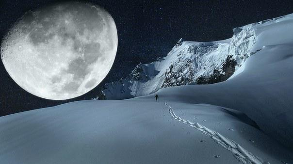 Moon, Mountain, Mountains, Imagination, Rock, Darkness