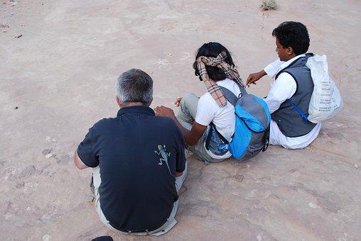 Jordan, Group, Lizard, Wait, Human, Male, Resting
