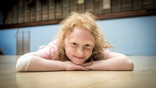 Little Girl, Gymnast Hall, Happy, Laying On The Floor