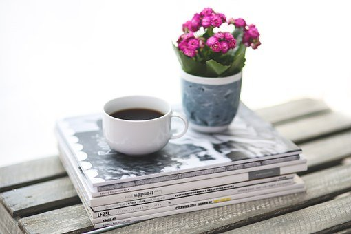 Stack, Newspaper, Magazine, Coffee, Flower, Kalanchoe