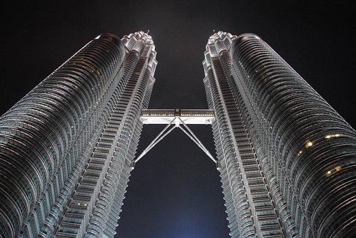 Petronas Towers, Night, Travel, Malaysia, Petronas