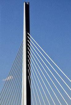 Bridge, Architecture, Millau Bridge, France, Cables