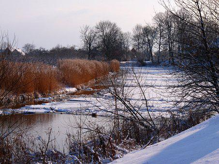 Lühe, Old Country, Winter, Ice, Ice Floes, Nature, Mood