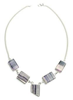 Fluorite, Necklace, Stone, Sterling, Silver, Jewelry