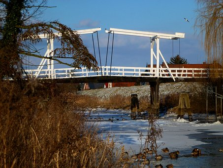 Bridge, Lühe, Old Country, Maritime, Winter, Mood