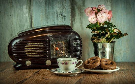 Retro, Radio, Old, Cup, Historical, Still Life, Flower