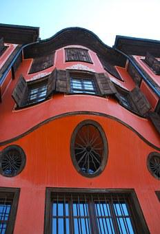 Plovdiv, Old, Building, House, Museum, Red, Orange, Sky