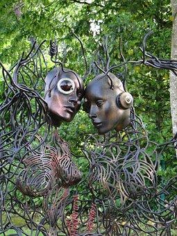Artwork, Work Of Art, Public Garden, Park, Iron, Faces