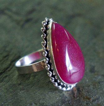 Ruby, Red, Teardrop, Silver, Metal, Jewelry, Jewel