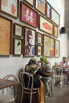Coffee Shop, Scarf, Muslim, Discussion, Kuala Lumpur