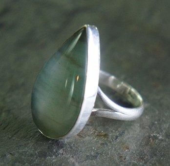 Green, Striped, Agate, Teardrop, Silver, Metal, Jewelry
