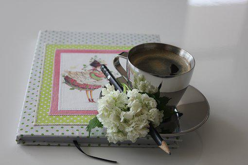 Coffee, Flower, Still Life, Vintage, Pencil, Workbook