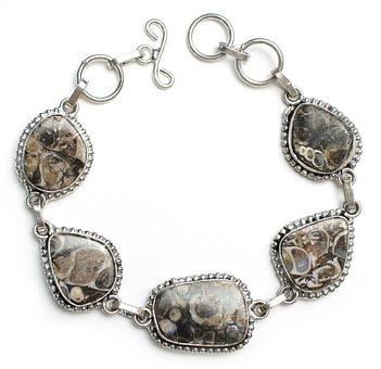Turritella, Bracelet, Stone, Sterling, Silver, Jewelry