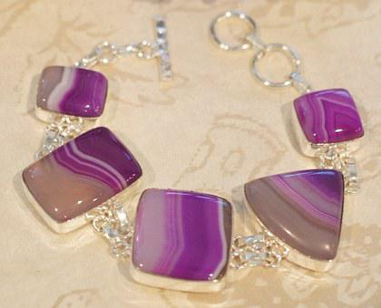 Agate, Striped, Botswana, Purple, White, Clear, Silver