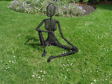 Statue, Park, Wire, Seated Figure, Nancy, Relaxation