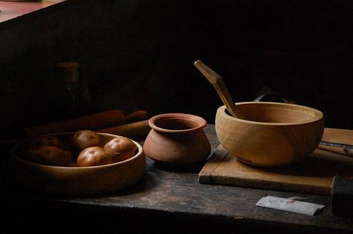 Wood, Pots, Shadow, Table, Kitchen, Antique, Vintage
