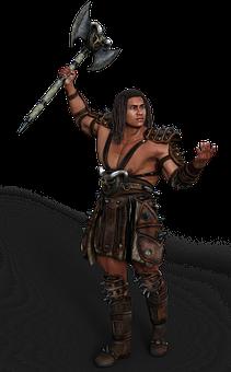 Man, Barbarian, Warrior, Axe, Fantasy, Antiquity