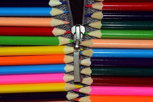 Zipper, Colorful, Pen, Color, Open, Close, Closed
