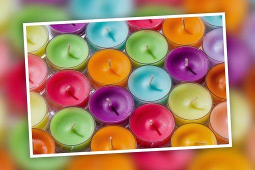 Tea Lights, Candles, Colorful, Wax, Frame, Wax Candle