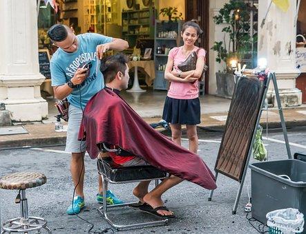 Hair Salon, Street, People, Woman, Man, Young, Happy