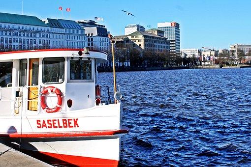 Alster, Jungfernstieg, Hamburgensien, Barges