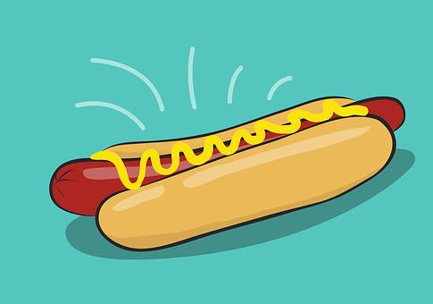 Hotdog, Hot, Dog, Isolated, Fast, Food, Mustard, Design