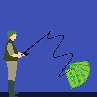 Money, Fish, Fishing, Hook, Cash, Fishhook, Background