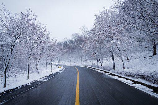 Road, Snow, Winter, Wood, Lane, Scenery, Nature