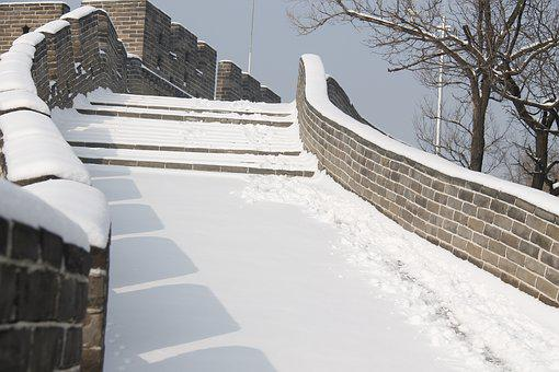 Winter, Snow, Cold, Building, Stairs