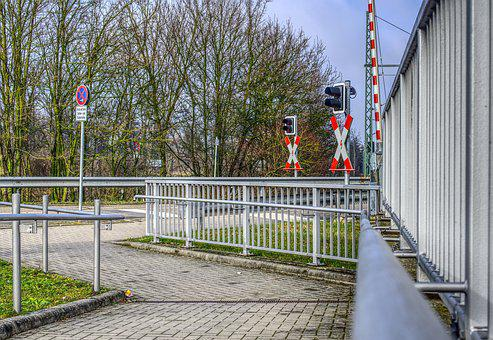 Level Crossing, Train, Rail, Road, Traffic Lights
