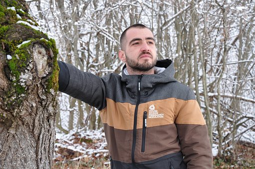 Man, Winter, Snow, Timber, Jacket, Beard, Forest