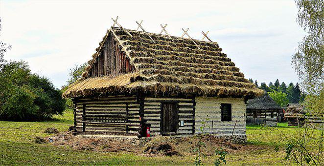 Architecture, Slovakia, Wood, House, Roof Thatched, Old