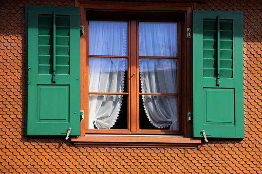 House, Shutters, Green, Window, Architecture, The Veil