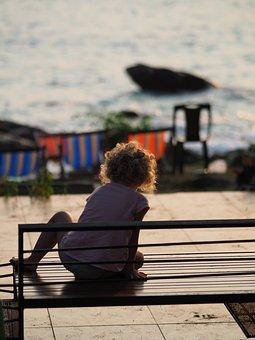 Kids, Sea, Dark, Backlit, Bench, Wait, Sky, Sunlight