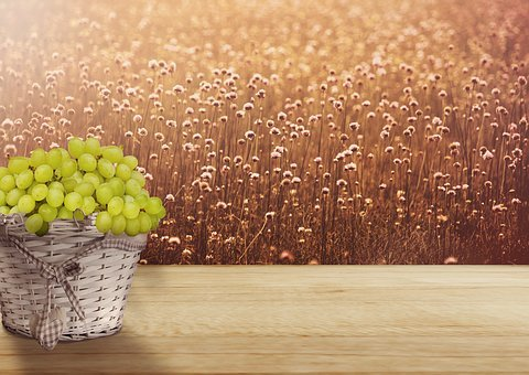 Background Image, Basket, Grapes, Bless You, Wellness