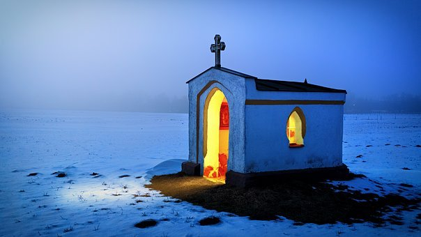 Blue Hour, Chapel, Light, Blue, Abendstimmung, Winter