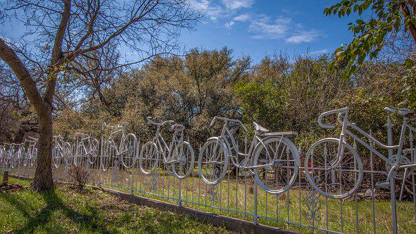 Fence, Bicycle, Park, Vintage, Outdoor, Bike, Whimsical